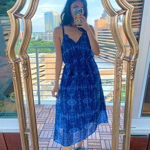 Lucky Brand Boho Blue Paisley V Neck Maxi Dress